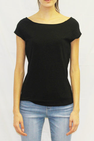 Ballet-Neck Short Sleeve Top (Black / White / Blush)