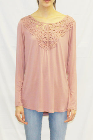 Long Sleeve Crochet Yoke Blouse