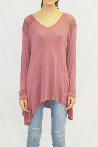 Long Sleeve V-Neck Lace Shoulder Tunic (Wine)