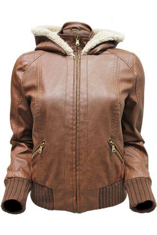Sherling Faux Leather Bomber - New Look - 1