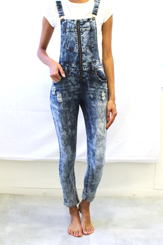 Acid Wash Distressed Denim Overall