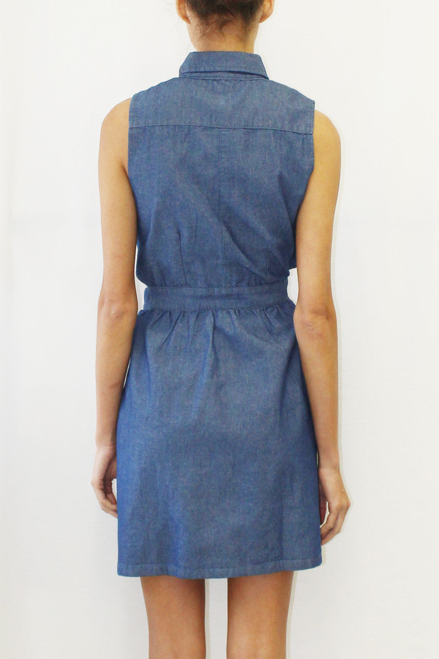 Sleeveless Chambray Button-Front Dress