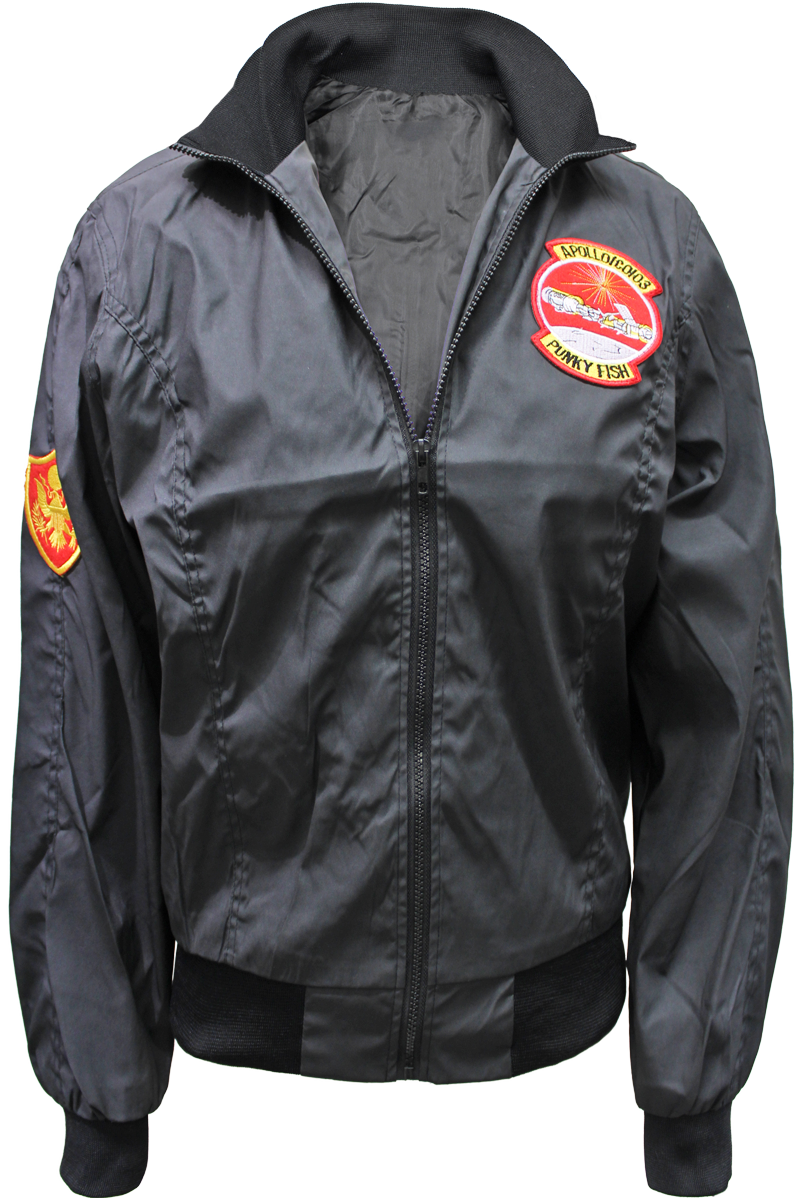 patched flight jacket black