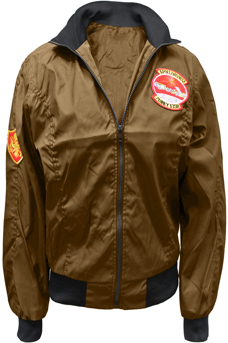 patched flight jacket brown