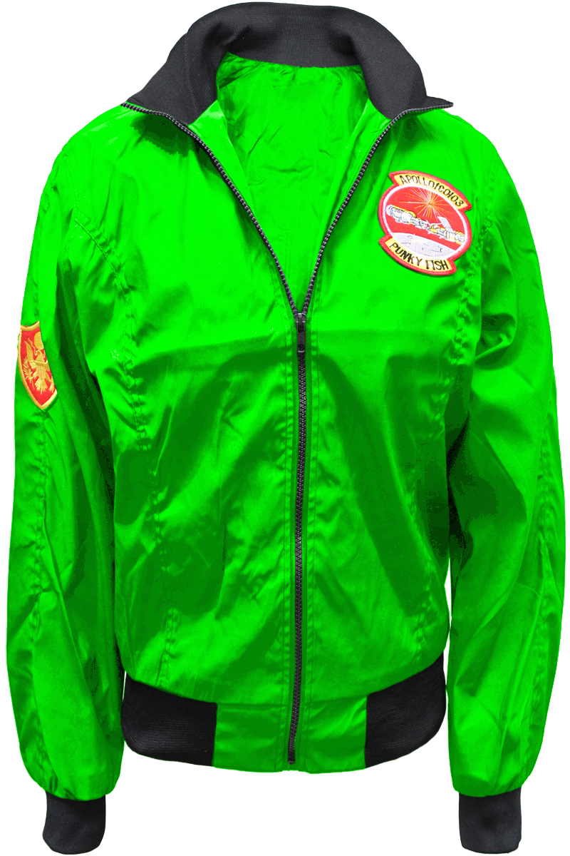 patched flight jacket green