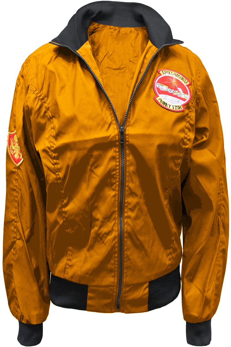 patched flight jacket orange