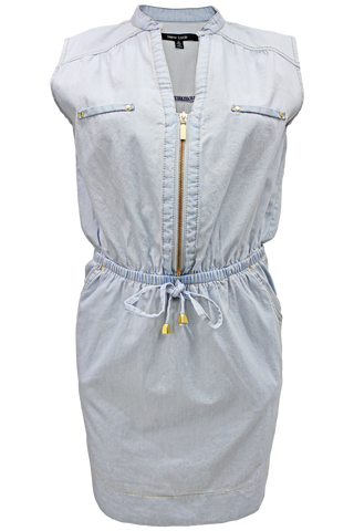 Chambray Zip Dress
