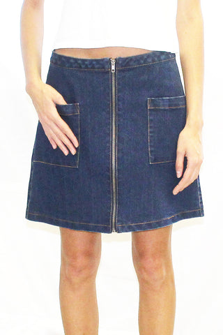 Zipper Front Denim Mini Skirt