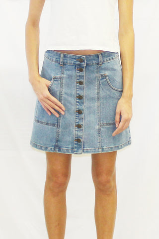 Scout Pocket Button Front Denim Mini Skirt