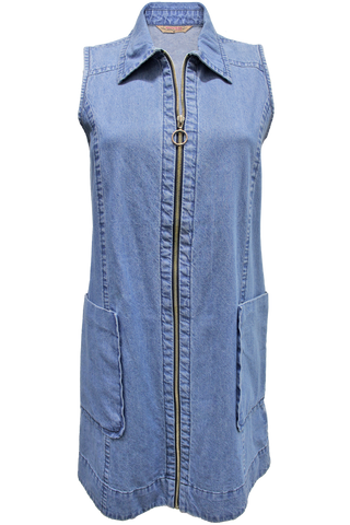 Zip Front Denim Dress