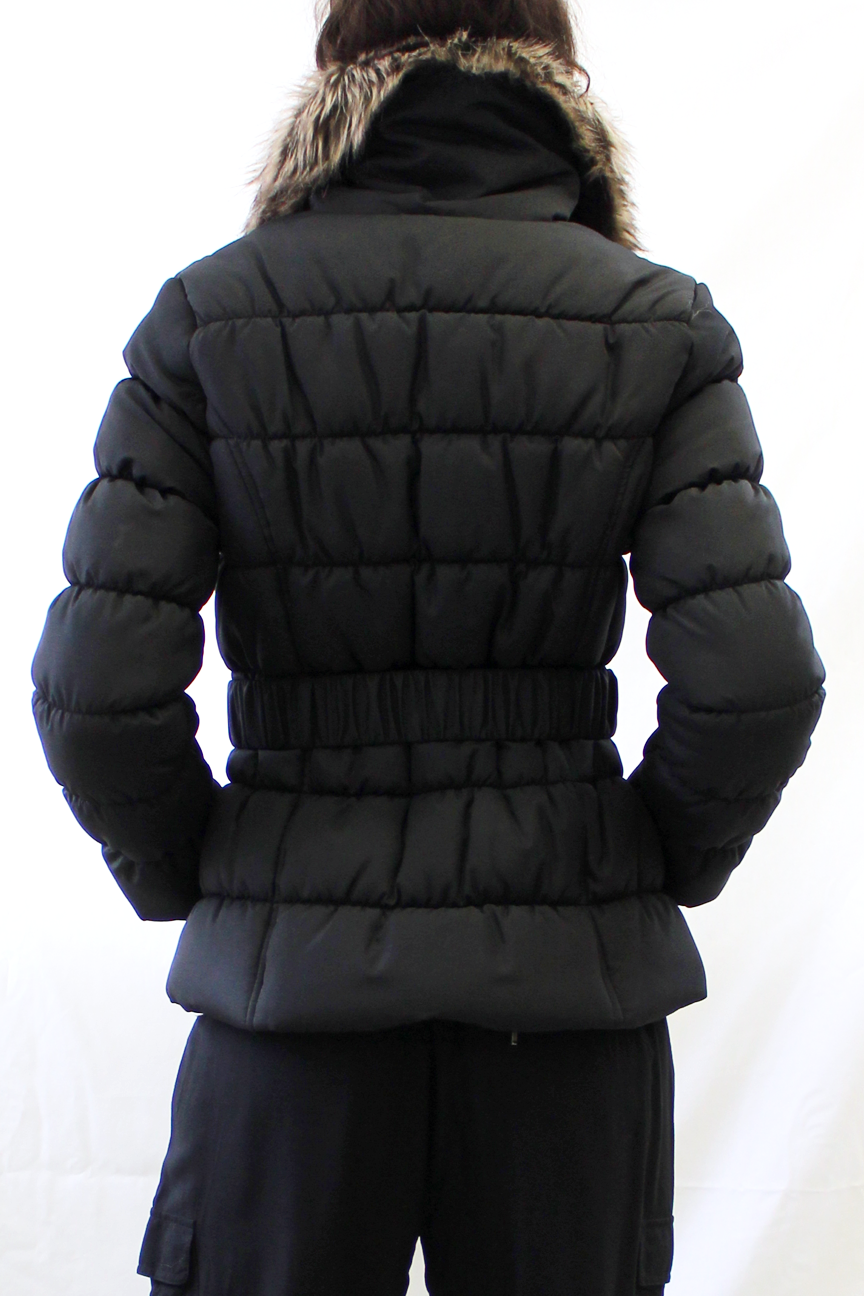 Faux Fur Lined High Collar Puffer Coat with Belt