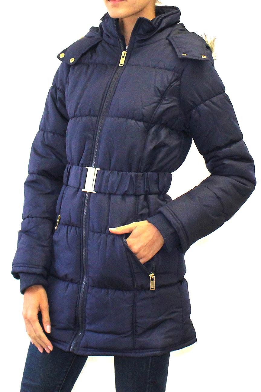 Hooded Belted Puffer Long Coat