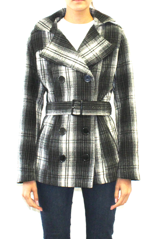Black and White Plaid Belted Peacoat
