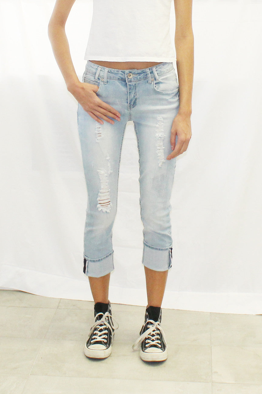 Cuffed Destructed Jeans
