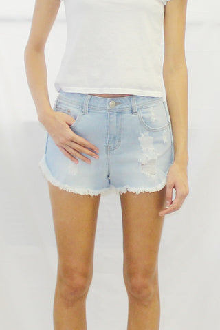 Frayed Hem Denim Dolphin Shorts