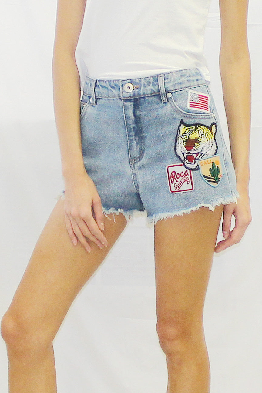 Patched Cutoff Denim Shorts (Medium Wash)
