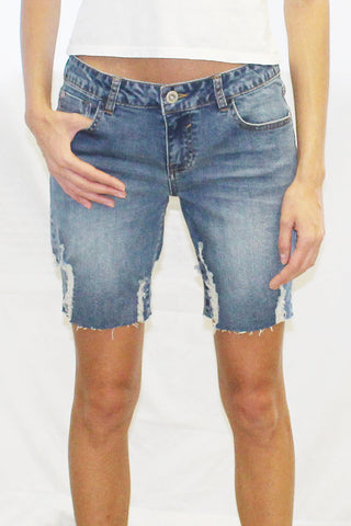 Destructed Hem Cut Off Denim Shorts