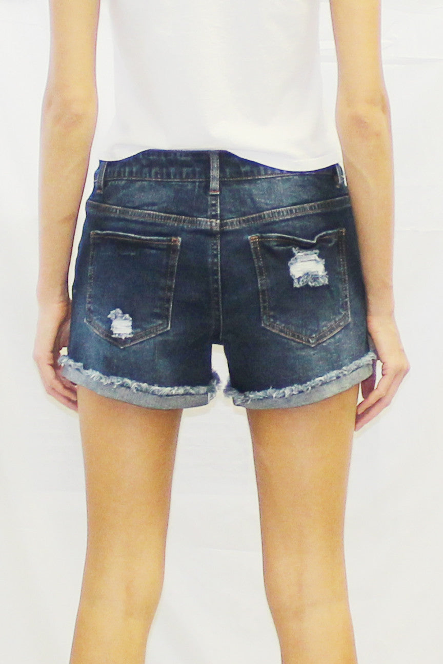 Turn Up Hem Denim Short (Light Wash / Medium Wash)