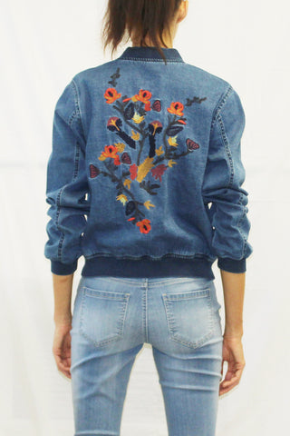 Embroidered Denim Varsity Jacket (Dark Wash)