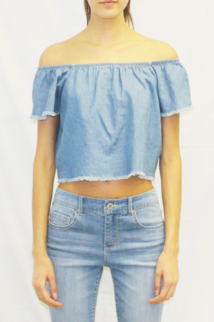 Off Shoulder Frayed Hem Chambray Blouse
