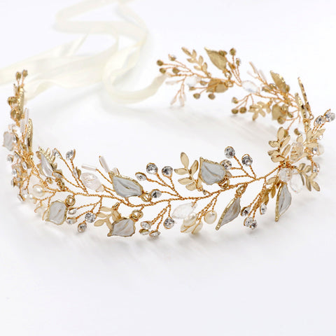 Gold Plated Silver Leaves Hair Vine with Pearls - Hair Cosmopolitan