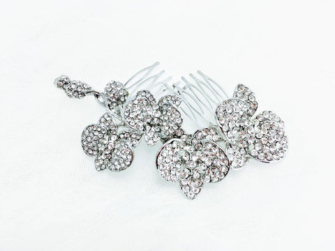Romantic Crystal Orchid Flower Charm Hair Comb - Hair Cosmopolitan