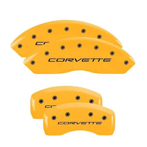 MGP 4 Caliper Covers Engraved Front & Rear C5/Corvette Yellow finish black ch
