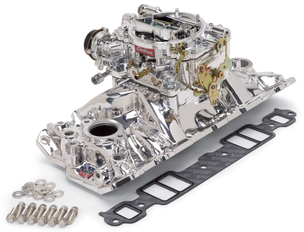 Edelbrock Manifold And Carb Kit Performer Eps Small Block Chevrolet 1957-1986 Natural Finish
