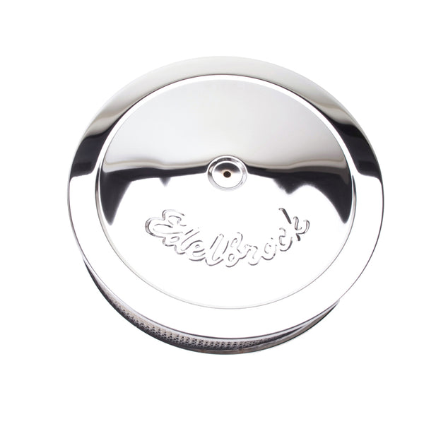Edelbrock Air Cleaner Pro-Flo Series Round Steel Top Paper Element 14In Dia X 3 75In Dropped Base