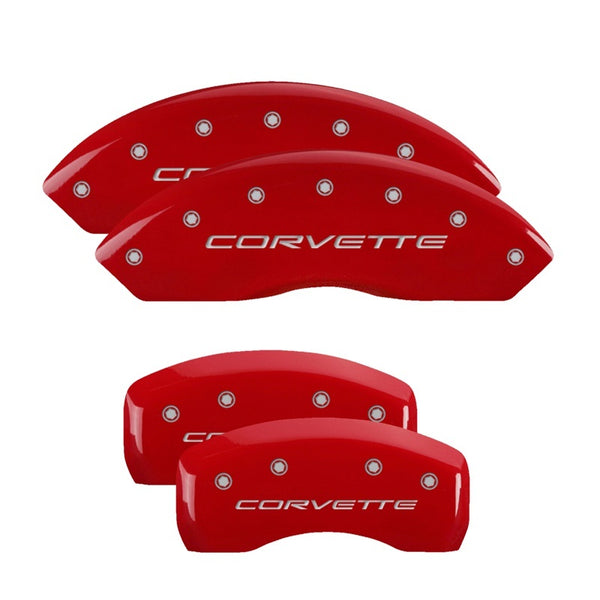 MGP 4 Caliper Covers Engraved Front & Rear C5/Corvette Red finish silver ch