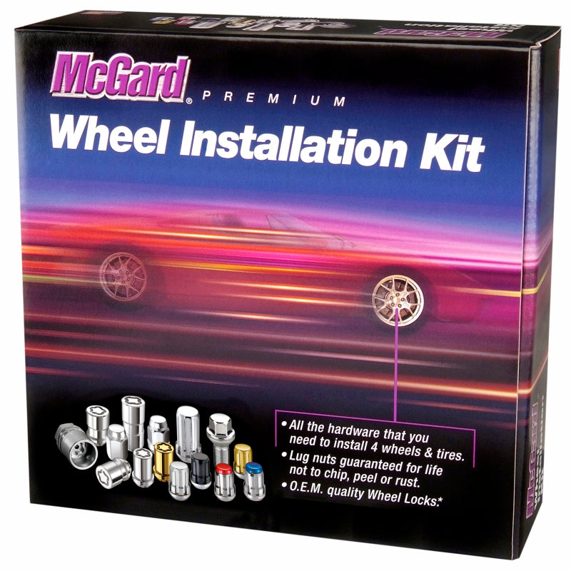 McGard 5 Lug Hex Install Kit w/Locks (Cone Seat Nut / Bulge) M12X1.5 / 3/4 Hex / 1.45in. L - Black