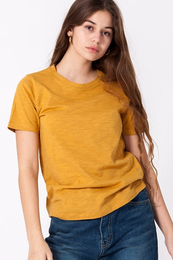 Heathered Crewneck Tee - Mustard