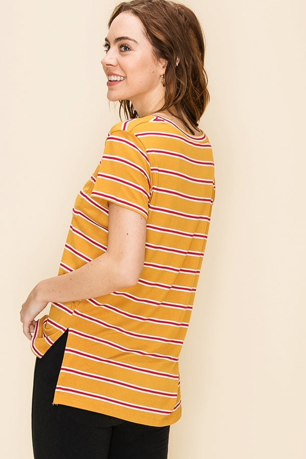 Everyday Pocket Tee - Yellow/Red