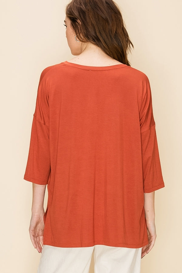 'Casual Day' Top - Terra Cotta