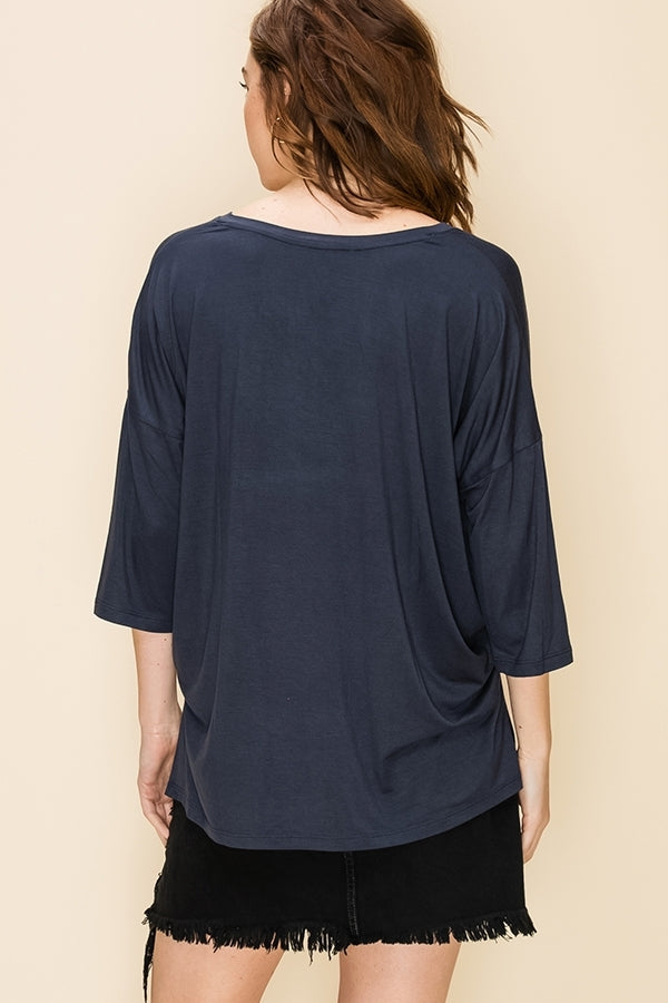 'Casual Day' Top - Blue Night