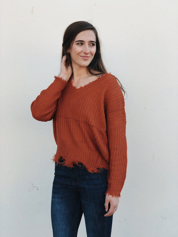 'Unconditional Love' Sweater - Rust