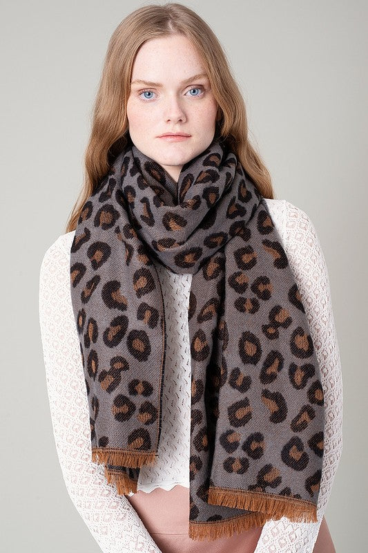 Leopard Reversible Scarf - Gray