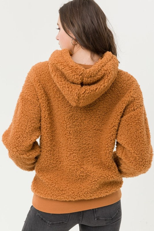 Sherpa Hooded Pullover - Rust