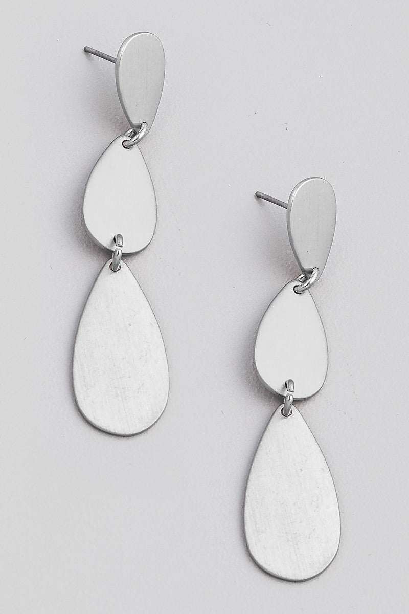 Layered Teardrop Earrings - Silver