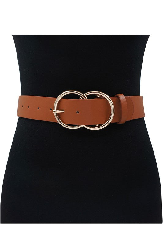 Double O Ring Belt - Cognac