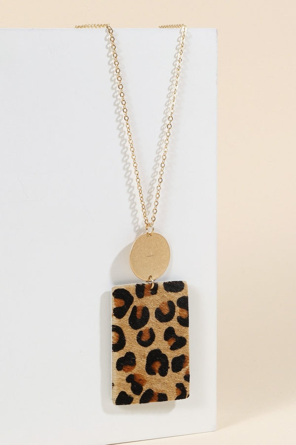 Calf Hair Pendant Necklace - Leopard