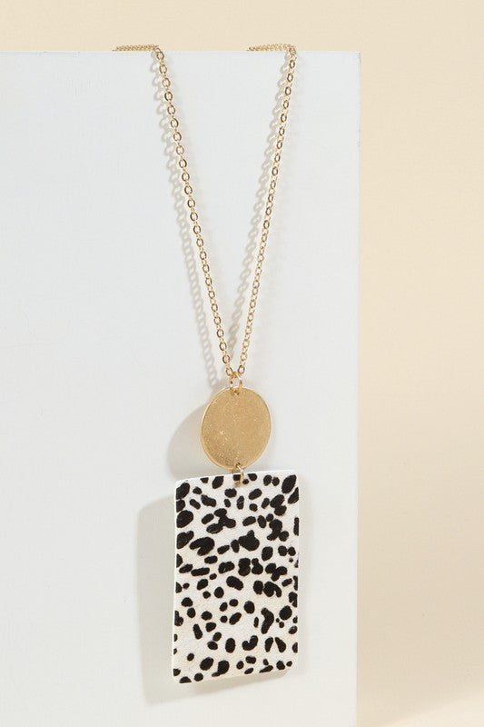 Calf Hair Pendant Necklace - Spotted