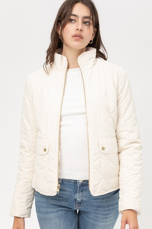 Quilted Reversible Jacket - Ivory