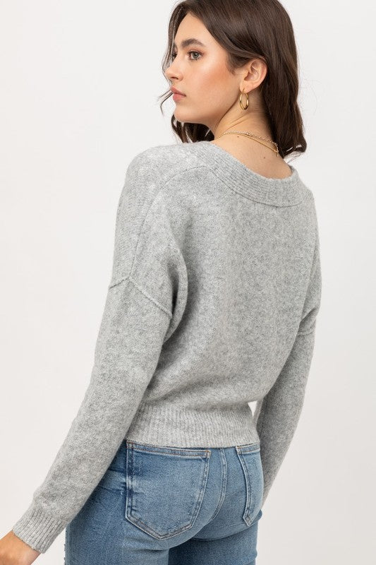 Cropped Cardigan - Heather Gray