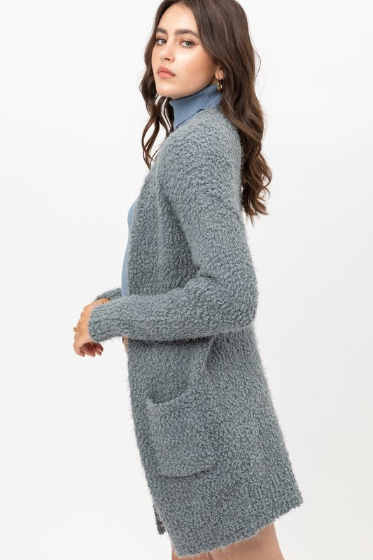 Popcorn Cardigan - Dusty Blue