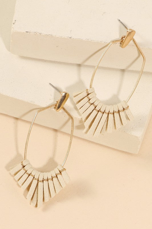 Suede Fringe Earrings - Ivory