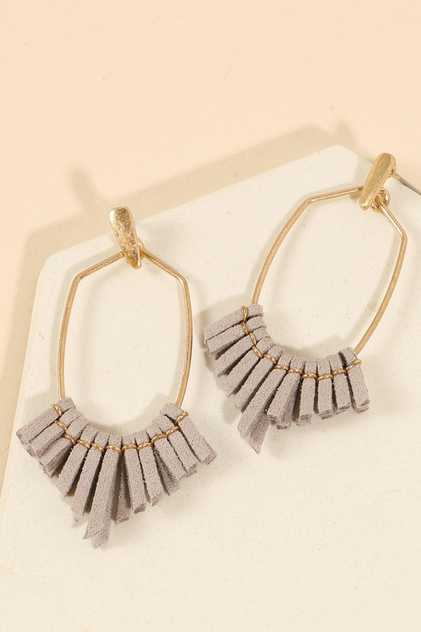 Suede Fringe Earrings - Gray