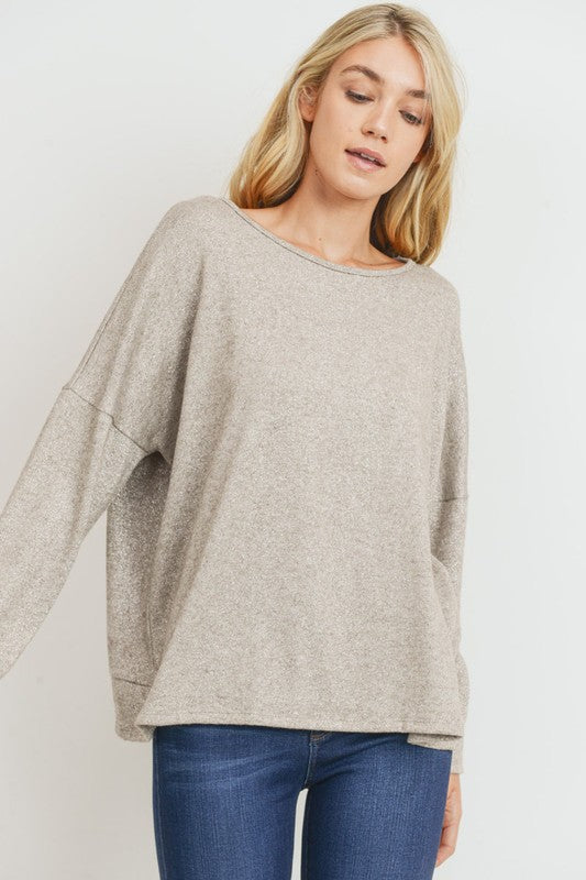 'Shine On' Top - Taupe