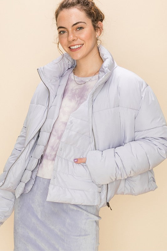 'This is Now' Puffer Jacket - Periwinkle