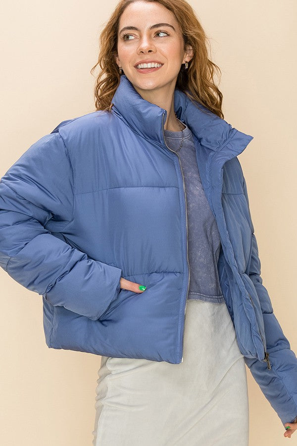 'This is Now' Puffer Jacket - Indigo